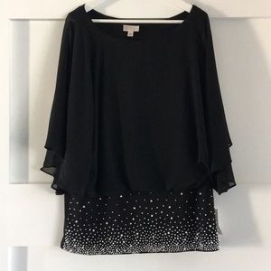 NWT Evening Black Beaded Top Blouse